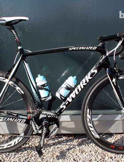 Tom Boonen's (Omega Pharma-Quick Step) Specialized S-Works Tarmac SL4 the day before Omloop Het Nieuwsblad