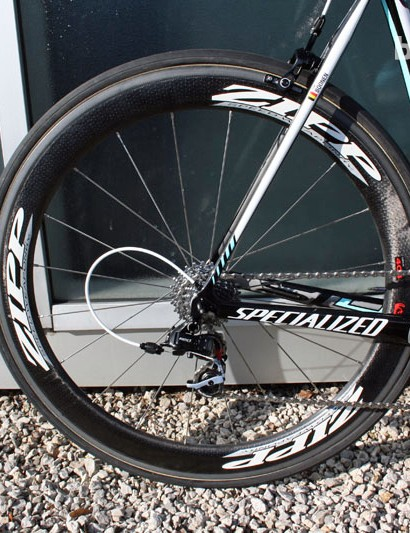 Zipp 404 tubulars on Tom Boonen's (Omega Pharma-Quick Step) Specialized S-Works Tarmac SL4