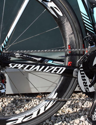 As is virtually standard these days, Tom Boonen's (Omega Pharma-Quick Step) Specialized S-Works Tarmac SL4 is built with generously proportioned chainstays
