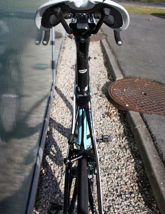 This is the only view of Tom Boonen's (Omega Pharma-Quick Step) Specialized S-Works Tarmac SL4 that most racers saw during Friday's E3 Prijs-Vlaanderen