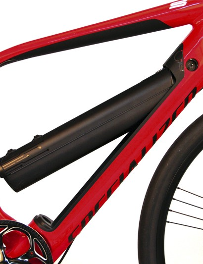 The Specialized Turbo's 342Wh lithium-ion battery is integrated into the down tube