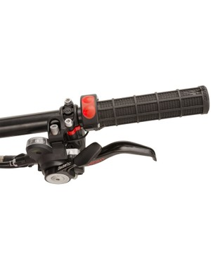 The wireless power control is integrated with the handlebar grip