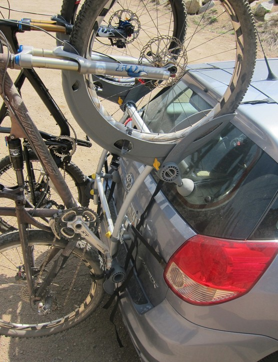 We found it to fit two trail bikes with 2.3in tires fine