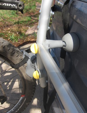 The feet, stabilizing bar, and wheel attachments are modular and adjustable