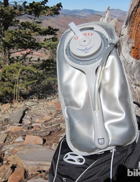 Osprey use a Nalgene 100oz bladder with a reinforced rib designed to allow easy removal and insertion of the full bladder into the pack's dedicated bladder sleeve