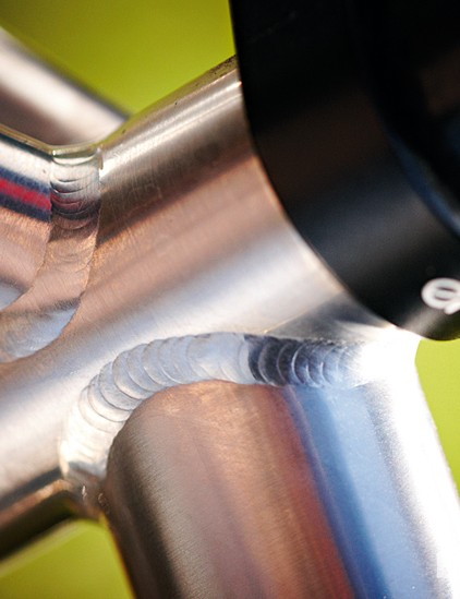 Neat welds adorn the seat tube junction
