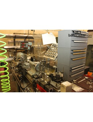 Lathes, CNC machines, frame testing equipment and other machinery make up the shop