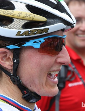 Catharine Pendrel (Luna) wore the new Oakley Radarlock glasses at the opening round of the UCI MTB World Cup in Pietermaritzburg, South Africa.