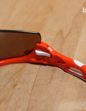 Releasing the lens on the new Oakley Radarlock is simple. Just slide the white switch over then fold the earpiece in