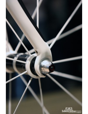 Fork tips are angled rearward on the Trek Domane fork so that the blades can be raked more dramatically