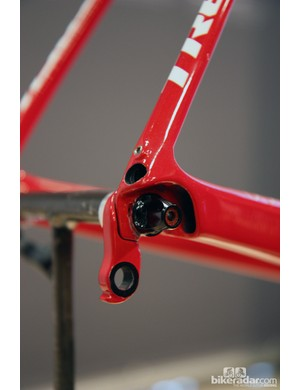 Hidden fender mounts are integrated into the rear dropouts. Simply remove the small set screw and then replace it with the special fender bracket. Trek say the Domane will easily handle 25mm-wide tires and full fenders though there's the suggestion that 28mm tires will fit by themselves, too
