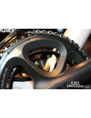 The new Trek Domane features an integrated chain keeper that's bolted directly to the base of the seat tube
