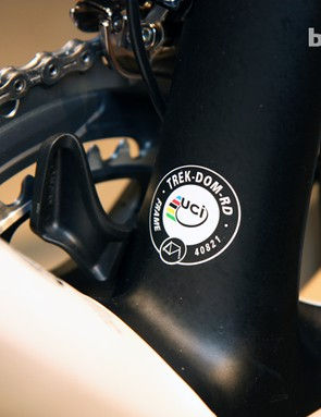 The alternate view of the 3S integrated chain keeper on Trek's new Domane. Note the UCI approval decal