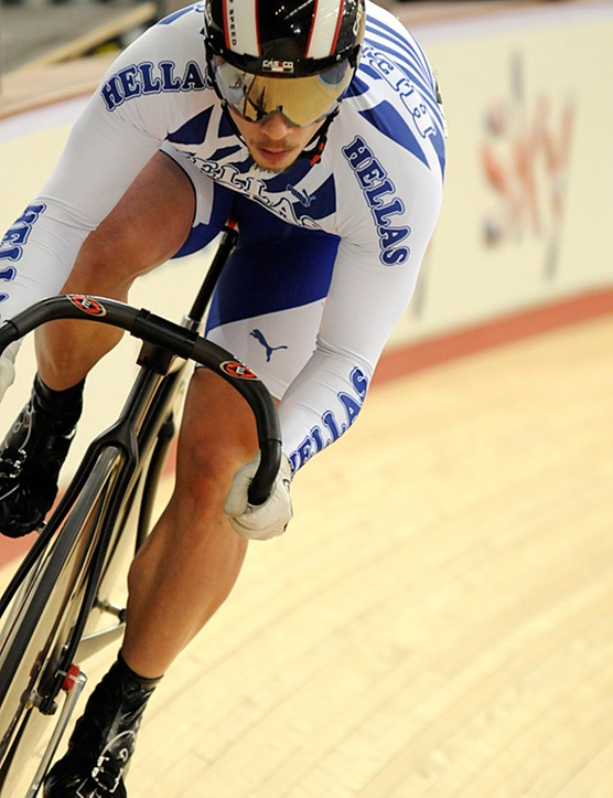 This Greek sprinter was riding a raw finished Look
