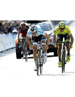 Tom Boonen was too strong for Filippo Pozzato and Alessandro Ballan in the sprint