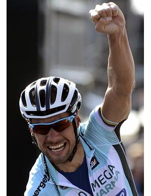 Tom Boonen celebrates his win