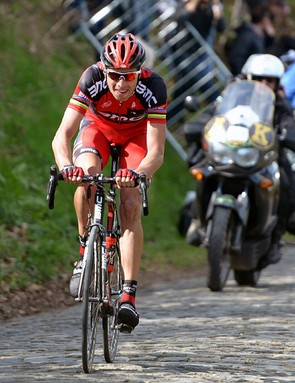 Alessandro Ballan (BMC) goes for it on the Kwaremont