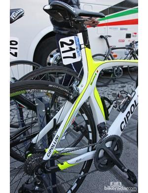 The MCipollini RB1000 bikes of Filippo Pozzato and Farnese Vini-Selle Italia feature a massively built rear end.