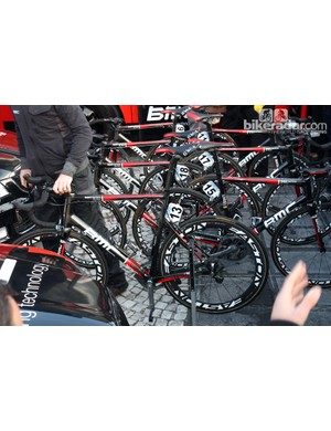 Alessandro Ballan and the rest of the BMC team rode a fleet of SLR01 Team Machines.