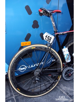 Garmin-Barracuda team sponsor Cervélo was arguably the pioneer of the giant chain stay, tiny seat stay design movement. It worked back then, and it still works really well now.