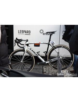 Fabian Cancellara (Radioshack-Nissan-Trek) rode the new Trek Domane at Ronde van Vlaanderen but he gets his own special geometry with a much lower front end than on consumer bikes.