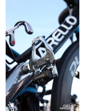 Aluminum-bodied Shimano Dura-Ace SPD-SL pedals for Edvald Boasson Hagen (Sky).