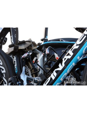 Aluminum Elite Ciussi cages on Edvald Boasson Hagen's (Sky) Pinarello Dogma 2 are chosen for their extra security on the cobbles.