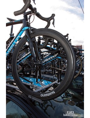 Section depth on Shimano's new carbon tubulars looks to be about 50mm and the width is at least 23mm across.