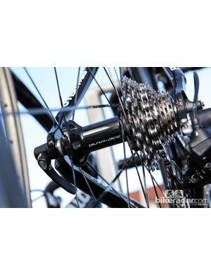 Flange spacing on the new Shimano rear hub is very wide, too, with straight-pull spokes all around and crossed lacing only on the driveside.