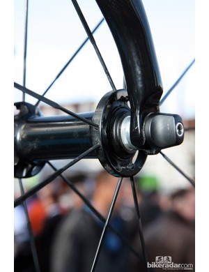 Shimano's new front wheel features very widely spaced flanges, the company's so-called 'indexed' bearing adjustment, and paired spoke heads.