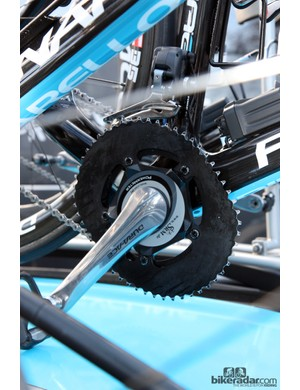 Sky's Chris Sutton runs the unusual looking O.symetric chainrings.