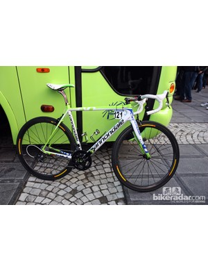 Peter Sagan (Liquigas-Cannondale) set off for Oodenaarde aboard this Cannondale SuperSix Evo.
