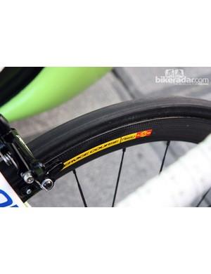 New wide-profile Mavic carbon tubular wheels on Peter Sagan's (Liquigas-Cannondale) Cannondale SuperSix Evo.