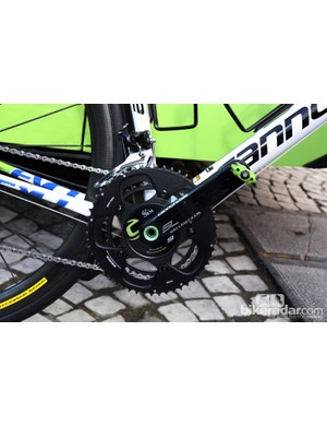 Cannondale Hollowgram SL cranks and an SRM spider makes for an ultralight power meter on Peter Sagan's Liquigas-Cannondale Cannondale SuperSix Evo.