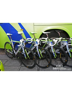 Liquigas-Cannondale team bikes ready for the start of Ronde van Vlaanderen.