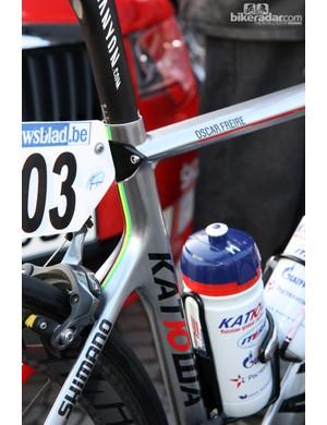 World championship stripes for Katusha's Oscar Freire.