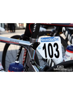 Check out the custom number plate holders used by the Katusha team.