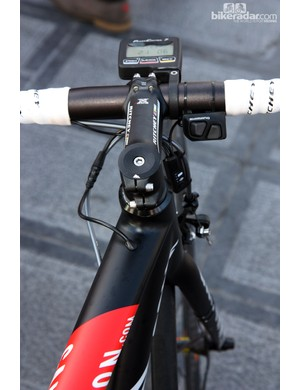The Shimano Dura-Ace Di2 wire is fed right into the top tube on Katusha's Canyon team bikes.