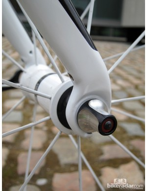 Rear-facing fork tips help maintain conventional rake and trail figures