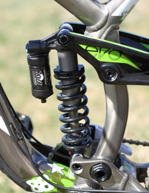 Fox's DHX RC2 rear damper; both the fork and rear damper are said to be tuned specifically by Trek's race shop, with input from the team