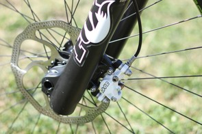 The OE Fox 40 comes with the older IS brake mount and a steel spring