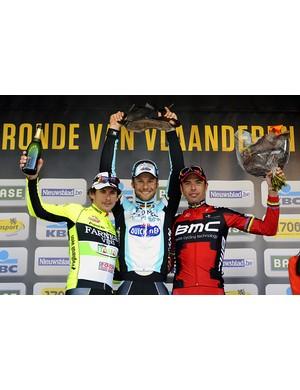 Pozzato (2nd), Boonen (1st )and Ballan (3rd)