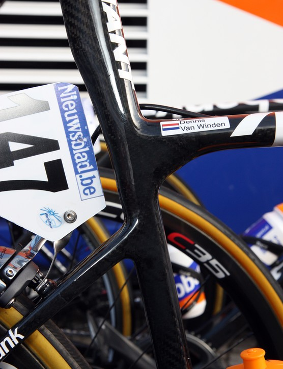 Rabobank's Giant Defy Advanced SL frames feature dramatic shaping that fosters flex at the seat cluster for greater comfort