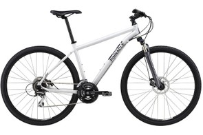 The Cobalt hybrid range starts at £350 with the One, rising to £650 for the Four. Here is the Cobalt Two (£450) which features Shimano M375 disc brakes and a 63mm-travel Suntour fork