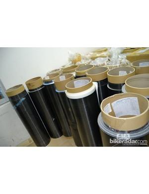 The carbon fibre sheet arrives on huge rolls
