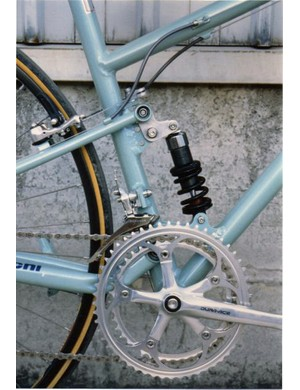 The prototype Bianchi used a single-pivot rear end and a short seat tube-mounted link driving a short coil-over shock.