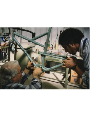 The prototype Bianchi Paris-Roubaix machine being built days before the start of the race in 1994.