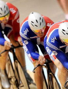 Ed Clancy leads the GB team to victory in the team pursuit final against Australia at the Track World Championships in Melbourne
