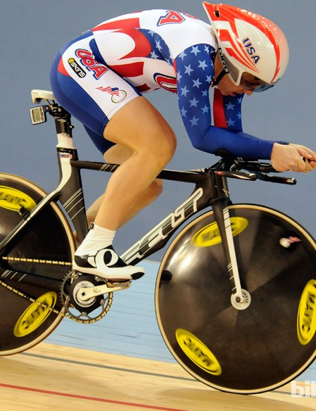 The USA's Jenny Reed in the pursuit qualifiers