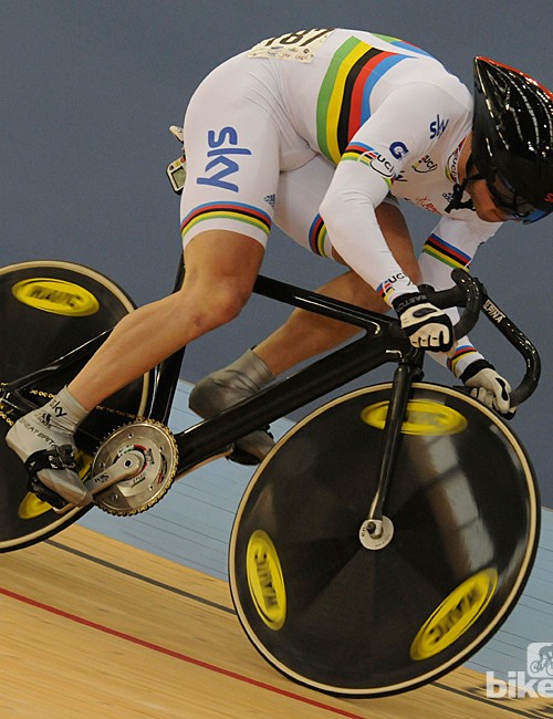 World Sprint champion Jason Kenny during the sprint qualifying seesion